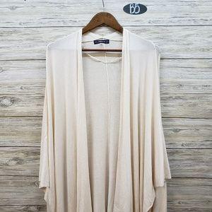 Zara Knit Cream Oversized Short Sleeve Cardigan